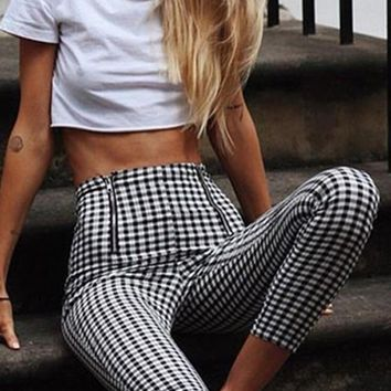 Black White Plaid Zipper High Waisted Club Fashion Pants