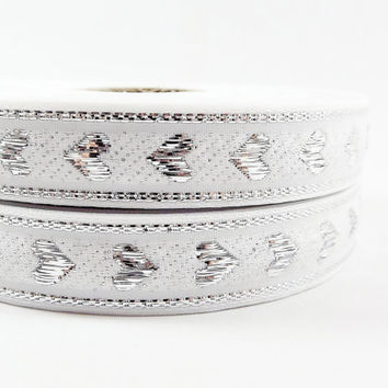White Metallic Silver Heart Woven Embroidered Jacquard Trim Ribbon - 5 Meters or 16 feet 427⁄32 inches or 5yd 1.4042ft