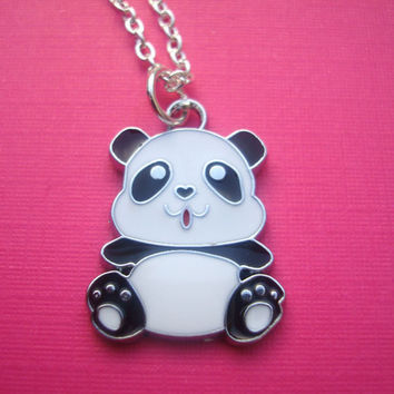 FUNKY BLACK WHITE PANDA BEAR NECKLACE KITSCH CUTE RETRO KAWAII WILDLIFE ANIMAL