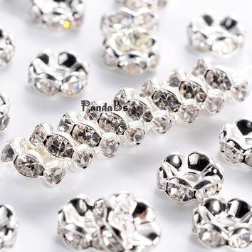 brass rhinestone spacer beads, grade aaa, wavy Lace, nickel free, silver metal color, rondelle, crystal, 8x3.8mm, hole: 1.5mm