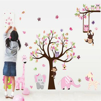 2017 1PC Lovely Owl Wall Stickers Animal Jungle Giraffe Tree Nursery Baby Kids Room Decal Decor Decoration Free Shipping MS291