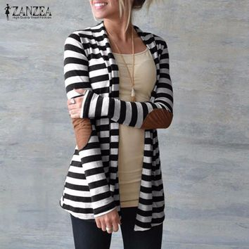 Oversized  Striped  Long Sleeve Patchwork Cardigan Sweater