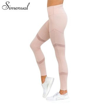 Simenual Patchwork mesh leggings for fitness 2018 bodybuilding slim sexy pink legging sportswear for women athleisure jeggings