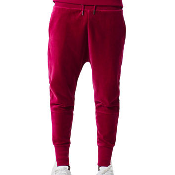 Red Velour Joggers In Red