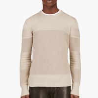 BEIGE ENMORE MIXED KNIT SWEATER
