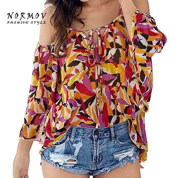 NORMOV S-XL Boho Style Summer Chiffon Blouse Bohemian Feather Prints Sexy Off Shoulder Tops Shirt High Quality Trendy Tops Women