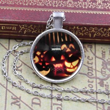 Ladies Short Long Chain Jewelry Necklace Crystal Halloween pumpkin light Cabochon Pendant Necklace For Girls Gift