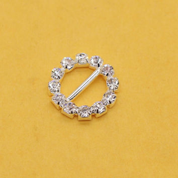 15mm 10pcs Round Rhinestone Buckles Diamond Buttons Invitation Ribbon Slider For Wedding Supply Silver Color,Free shipping