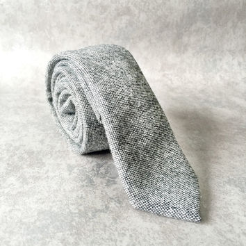 Sherwin Williams Grey Wool Skinny Tie - Dapper Style Tie - Rustic Wedding Grey Tie - Mens Wool Tie - Graduation Tie - Winter Skinny Tie