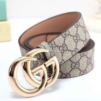 DCCKR2 GUCCI Stylish Letter Print GG Metal Smooth Buckle Leather Belt Khaki(4-Color) I