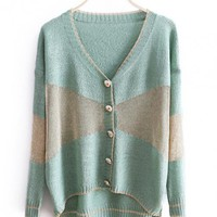 Green Stitching Long Sleeve V-neck Sweater $41.00