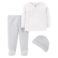 Baby Carter's Word Kimono Top, Striped Footed Pants & Hat Set