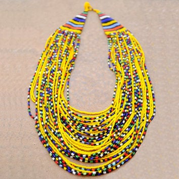 Yellow Multistrand Necklace,Beaded Yellow African Necklace,Tribal Yellow Statement Necklace,Traditional South African Beadwork