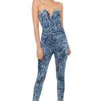 Bad Influence Dark Acid Wash Denim Strapless Jumpsuit