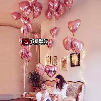 10pcs 18 inch Pearl pink Love Foil Heart Helium Balloons Wedding Birthday Party decor i love you marriage Globos orbs Supplies