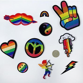 PGY Flag LGBT Patches Rainbow Embroidered Iron On Patch For Clothes Gay Pride Badges Backpack Applique Rainbow Sewing Stickers