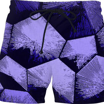 Purple bricks geometric pattern on canvas background, fabric like theme men swim shorts