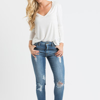 Sandy White Longsleeve V-Neck Top