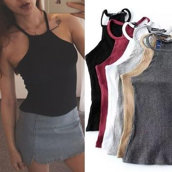 Summer Off Shoulder Knitted Bustier Crop Top Women O Neck Elastic Tube Tank Tops Knit Beach Sexy Camis Crop Tops