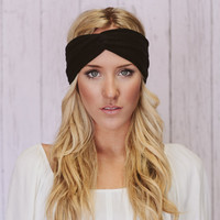 Black Turban Headband Cotton Spandex Workout Hair Bands Women's Fashion Hair Band Headband