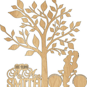 Custom Wedding Cake Topper Personalized Mr and Mrs with a bicycle silhouette your last name - Rustic Wedding Cake topper with a Tree of life