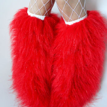 MADE TO ORDER GLitTeR ReD BLacK BaND Fuzzy Leg Warmers fluffy boot covers rave fluffies sparkle festival costume leggings
