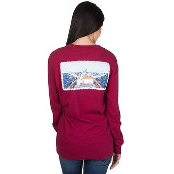 First Mate Long Sleeve Tee in Cranberry Red by Lauren James - FINAL SALE