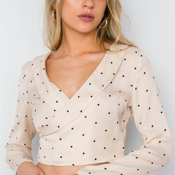 Polka Dot Long Sleeve Cropped Top ()