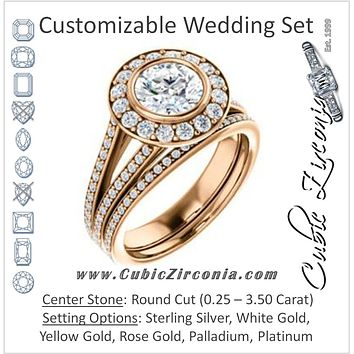 CZ Wedding Set, featuring The Maricela engagement ring (Customizable Bezel-Halo Round Cut Ring with Wide Tapered Pavé Split Band & Decorative Trellis)