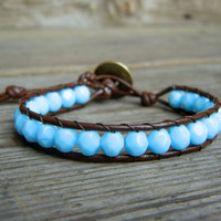 Beaded Leather Single Wrap Stackable Bracelet with Sky Blue Baby Blue Czech Glass Beads on Brown Leather Spring Summer Collection