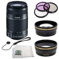 Canon EF-S 55-250mm f/4-5.6 IS II Lens Kit. Includes Wide Angle & Telephoto Lenses Plus SSE accessory kit