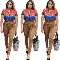 '' GUCCI '' Women Casual Short Sleeve Top Pants Two-Piece