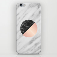 Carrara Italian Marble Black and Pink iPhone & iPod Skin by Cafelab