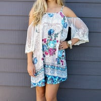 Free Spirit Blue Floral Print Open Shoulder Peasant Dress