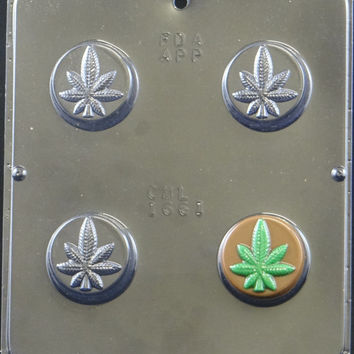 Marijuana Pot Leaf Oreo Cookie Chocolate Candy Mold 1661