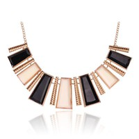Tribal Collection Necklace Chunky Black White and Gold