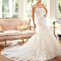 Custom 2014 New High quality Mermaid Beach Wedding Dresses Sweetheart bride dress Ivory/White Big Fishtail Wedding Gown