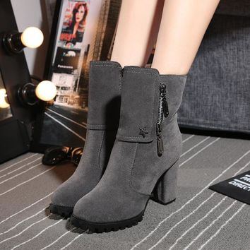 On Sale Hot Deal Shoes Winter Zippers Matte Boots [47583166471]