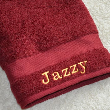 Monogrammed Large Bath Towels, Personalized Maroon Bath Towels, Large Bath Towels With Name On, Gift For Anyone, Large Towel With Name