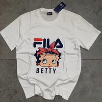 FILA×BETTY Women Fashion Print Tunic Shirt Top Blouse