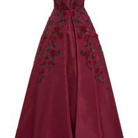 Strapless Rose Embroidered Gown | Moda Operandi