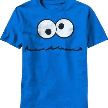 2017 New Arrivals Tops Summer Cool Funny T-Shirt Sesame Street Cookie Monster Cooking It Up Mens Fashion