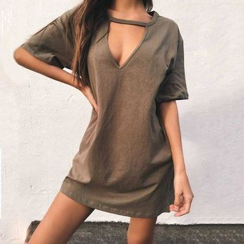VON7TL Hot Sale Strong Character V-neck T-shirts Sexy Slim One Piece Dress [256932282394]