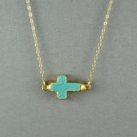 Turquoise Sideways Cross  Edged with 24k Gold - Fashion 2012 Necklace, 14K Gold Filled Chain, Modern, Simple, Delicate, Everyday Jewelry