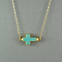 Turquoise Sideways Cross Necklace, Edged with 24k Gold , 14K Gold Filled Chain, Modern, Simple,  also in Sterling Silver