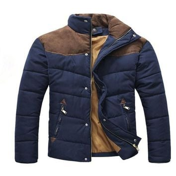 2016 Hot Sale Men Winter Splicing Cotton-Padded Coat Jacket Winter Plus Size Parka Three kinds of color size S - 2 xl