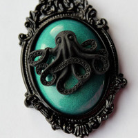 Octopus Cameo Necklace Iridescent Teal & Black