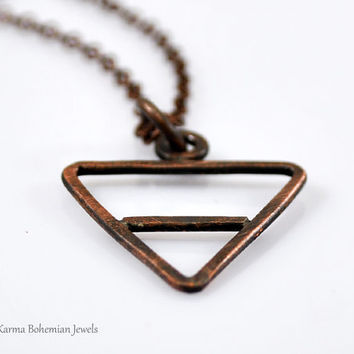 Earth Alchemy Element Necklace. Mens Copper Pendant Necklace. Custom made Mens Necklace. Air, Fire, Water, Earth symbol. Unisex necklace.