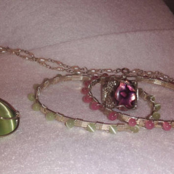 Bracelets made to order either green or pink beads, Custom made.