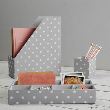 Fabric Desk Accessories Set, Gray Dottie